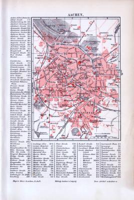 Die Stadt Aachen in der Zeit um 1893 als Stadtplan mit alphabetischem Straßenverzeichnis.