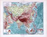 Übersichtskarte von Asien inklusive Fluß und...