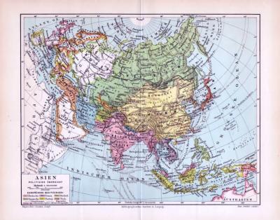 Politische Übersicht von Asien zur Zeit um 1893, Maßstab 1 zu 56 Millionen. Europäische Kolonien sind farbig markiert.