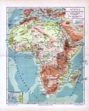 Topografische Karte von Afrika um ca 1893. Fluss- und Gebirgssysteme sind verzeichnet. Höhen- und Tiefenschichten in Metern farbig angegeben. Ausschnittfenster zeigt die Kapverdischen Inseln. Maßstab 1 zu 38 Millionen.