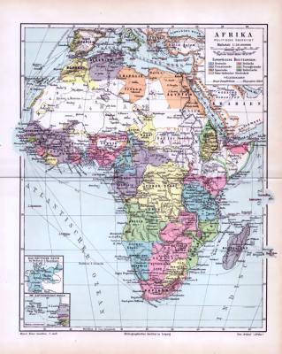 Politische Übersicht von Afrika um 1893. Europäische Besitzungen farbig eingezeichnet. Kapverdische Inseln und Größenvergleich zum Deutschen Reich in Extra Fenstern. Maßstab 1 zu 38 Millionen.