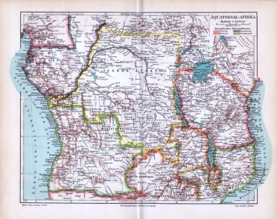 Landkarte von Äquatorial-Afrika um das Jahr1893. Maßstab 1 zu 13 Millionen. Europäische Kolonielbesitz farbig eingezeichnet.