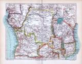 Landkarte von Äquatorial-Afrika um das Jahr1893. Maßstab...