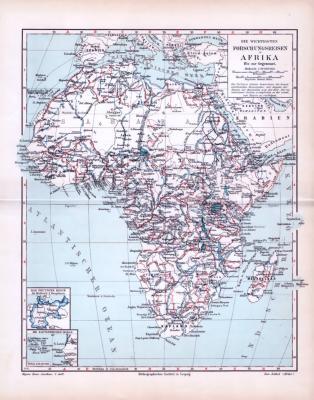 Die Karte von ca 1893 zeigt die wichtigsten Forschungsreisen in Afrika. Kapverdische Inseln und Deutsches Reich in Extrafenstern abgebildet. Maßstab 1 zu 38 Millionen.