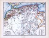 Landkarte von Algerien, Marokko, Tunesien und Libyen zur Zeit um  1893. Mit Erklärung arabischer Namen. Maßstab 1 zu 9,5 Millionen. Namen der Stämme in liegender Schrift, Hauptstädtet unterstrichen. Höhenangaben in Metern.
