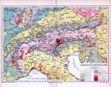 Geologische Karte der Alpen um 1893. Maßstab 1 zu 3 Millionen. Farbige Angaben der Erdzeitalter / Geologischen Schichten.