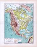 Landkarte von Nordamerika im Maßstab 1 zu 37,6 Millionen. Mit Angabe der Fluß- und Gebirgssysteme und Höhen- / Tiefenschichten.