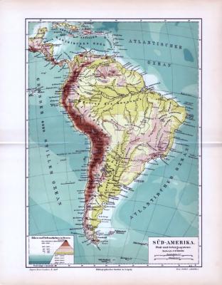 Landkarte von Südamerika im Maßstab 1 zu 37 Millionen. Mit Angabe der Fluß- und Gebirgssysteme und Höhen- / Tiefenschichten.