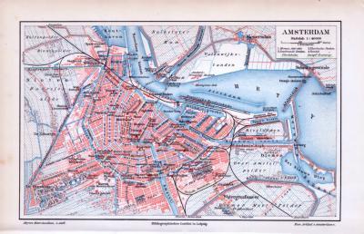 Stadtplan von Amsterdam im Maßstab von 1 zu vierzigtausend zur Zeit um 1893. Hafen, Dampftramway, Pferdebahn und Monumente eingezeichnet.