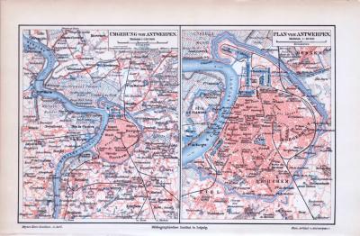 Stadtplan und Umgebungskarte von Antwerpen, Belgien im Maßstab 1 zu 60.000 und 1 zu 150.000 um ca 1893.