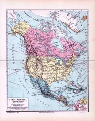 Die Landkarte von 1893 zeigt Nordamerika in einer politischen Übersicht. Kanada, die Vereinigten Staaten und Mexiko, sowie Karibik und Teile von Mittelamerika. Der Maßstab beträgt 1 zu 35 Millionen.