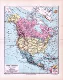 Die Landkarte von 1893 zeigt Nordamerika in einer...