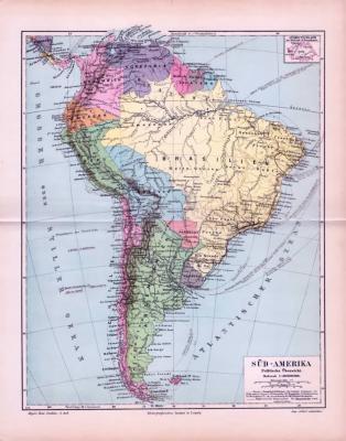 Politische Übersichtskarte von Südamerika um 1893. Maßstab 1 zu 30 Millionen. Staaten sind farbig eingezeichnet. Süddeutschland im Maßstab zum Vergleich im Extrafenster.