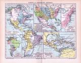 Karten zur Geschichte Amerikas von 1893 in verschiedenen Maßstäben.