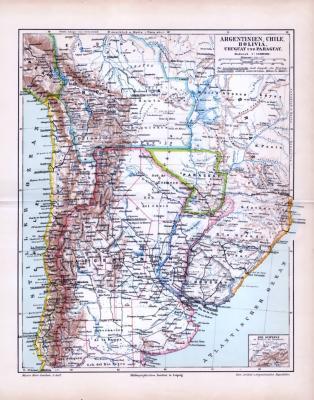 Landkarte aus dem Jahr 1893 von Argentinien, Chile, Bolivien, Uruguay und Paraguay im Maßstab von 1 zu 12 Millionen. Die Schweiz im Maßstab zum Vergleich.