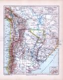 Landkarte aus dem Jahr 1893 von Argentinien, Chile,...
