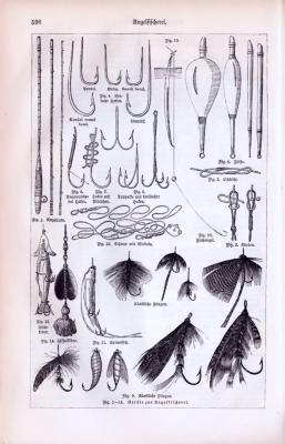 Abbildungen von Ködern der Angelfuischerei aus dem Jahr 1893.