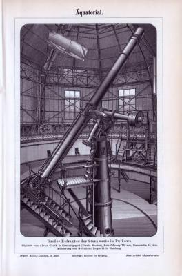 Der Stich zeigt den Großen Refraktor der Sternwarte in Pulkowa. Hier in einem Abdruck aus 1893. Das Pulkowa Observatorium ist die bekannteste Sternwarte Russlands.