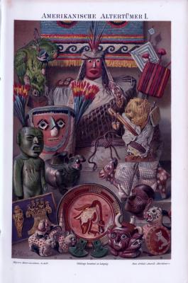 Die Chromolitographie aus 1893 zeigt amerikanische altertümliche Gegenstände wie Masken, Figuren, Schmuck und Waffen.