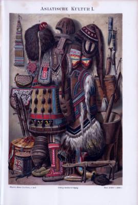 Chromolithographie von ca 1893 zum Thema Asisatische Kultur. Abgebildet sind Bekleidung, Schmuck, Waffen und Alltagsgegenstände.
