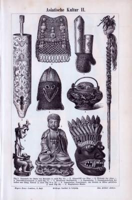 9 Stiche von religiösen und kultischen Objekten, Waffen und Alltagsgegenständen aus dem Asiatischen Kulturraum.