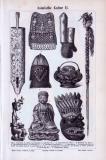 9 Stiche von religiösen und kultischen Objekten, Waffen...