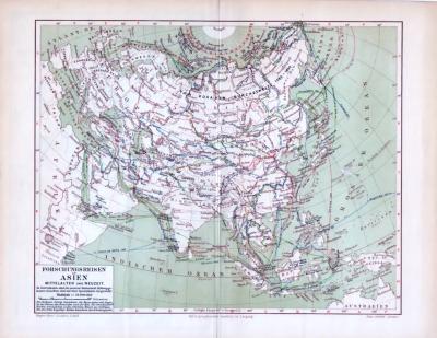 Die Landkarte zeigt Forschungsreisen in Asien in Mittelalter und Neuzeit. Die farbige Illustration von 1893 wurde im Maßstab von 1 zu 56 Millionen angefertigt. Reiserouten der Forscher wurden farbig eingezeichnet.