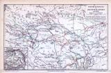 Asien + Zentralasien Landkarte Forschungsreisen Mittelalter und Neuzeit ca. 1893 Original der Zeit