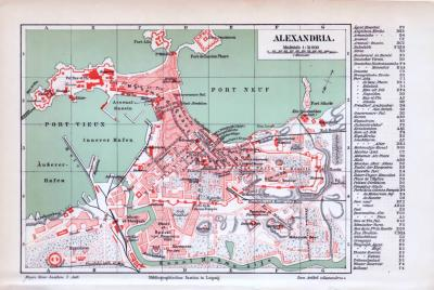 Historischer farbiger Stadtplan von Alexandria im Maßstab 1 zu 31 Tausend zur Zeit um 1893. Mit Index wichtiger Bauten und Straßen.
