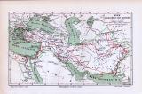 Die farbige Landkarte von 1893 zeigt das Reich Alexanders des Grossen in einer Bearbeitung von carl Wolff. Der Maßstab beträgt 1 zu 24 Millionen. Die Feldzüge Alexanders sind eingezeichnet.