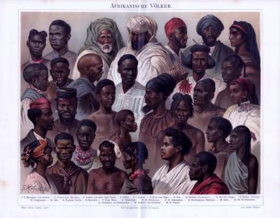 Die Chromolithograhpie von 1893 zeigt Menschen verschiedener afrikanischer Völker.