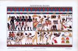 Chromolithographie von 1893. Nubische Häuptlinge bringen dem ägyptischen König ihre Geschenke. Um 1380 v. Chr.. Wandgemälde in einem thebanischen Grab des Neuen Reiches, nach Lepsius.