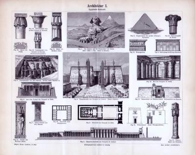 Stich von 1893 zeigt Szenen der Ägyptischen Baukunst ab 4.000 v. Chr.