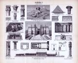 Stich von 1893 zeigt Szenen der Ägyptischen Baukunst ab...