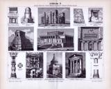 Stich von 1893 zeigt Szenen der vorderasiatischen Baukunst.