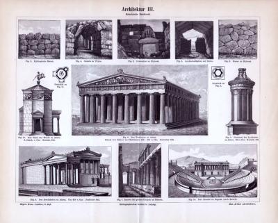 Griechische Baukunst der Antike in einem Stich von 1893. Verschiedene Heiligtümer und Baumonumente sind abgebildet.