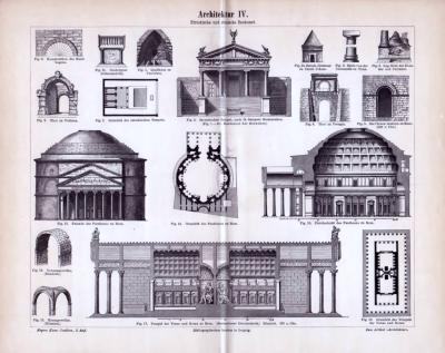 Etruskische und Römische Baukunst der Antike in einem Stich aus dem Jahr 1893. Monumentalbauten und Grundriße sowie weitere Details der Bautechnik sind abgebildet.