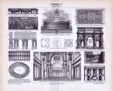 Römische Baukunst der Antike in einem Stich von 1893.