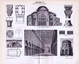 Altchristliche und byzantinische Baukunst der Antike in einem Stich von 1893. Grabmäler und Kirchen im byzantinischen Stil.