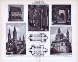 Romanische Baukunst in einem Stich aus dem Jahr 1893. Kloster, Kirchen und Dome sind in verschiedenen Ansichten abgebildet.
