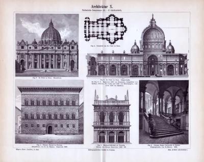 Bauwerke der Italienischen Renaissance aus dem fünfzehnten bis siebzehnten Jahrhundert in einem Stich aus dem Jahr  1893.