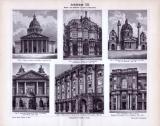 Bauwerke aus der Zeit des Barock und Rokokoim 17. und 18. Jahrhundert, in einem Stich aus dem Jahr 1893. Gezeigt werden Prachtbauten und Paläste.