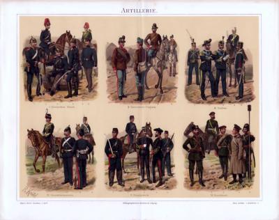 Die Chroolithographie von 1893 zeigt Artillerie Truppen aus verschiedenen Ländern Europas in ihren typischen Uniformen.