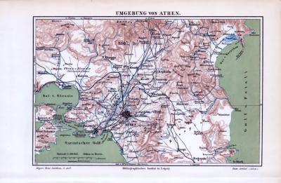 Die farbige Landkarte aus dem Jahr 1893 zeigt die Umgebung von Athen mit dem Golf von Petali, dem Saronische Golf unde der Bucht von Eleusis bis zur Insel Salamis.