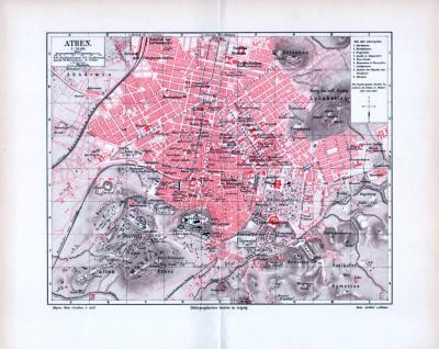 Farbiger Stadtplan von Athen im Maßstab 1 zu 16500. Der Plan zeigt Athen um 1893. Eingezeichnet sind antike Sehenswürdigkeiten und neuere wichtige Plätze und Bauten.