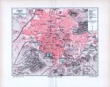 Farbiger Stadtplan von Athen im Maßstab 1 zu 16500. Der...