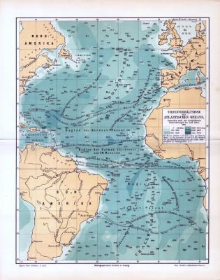 Die farbige Lithographie zeigt den Atlantik und die  verschiedenen Tiefen des Ozeans.