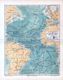 Die farbige Lithographie zeigt den Atlantik und die...