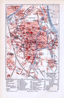 Stadtplan von Augsburg aus dem Jahr 1893. Farbige Lithographie im Maßstab 1 : 20.000 Bahnlinien Straßen und wichtige Bauten sind verzeichnet.