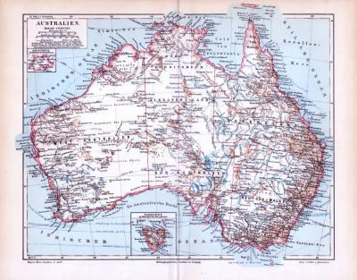 Farbige Lithographie einer Landkarte von Australien aus dem Jahr 1893. Der Maßstab beträgt 1 zu 16 Millionen. Tasmanien ist in einem Extrafenster verzeichnet. Die verschiedenen Territorien Australiens sowie wichtige Städte und Flüße sind ebenso abgebildet.